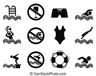 swimming icons set - isolated black swimming icons set from...