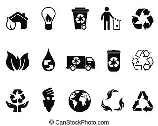 black recycling icons set
