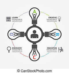 Abstract lightbulb infographic template digital...