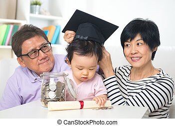 asian grand parents with grand daugther education saving...