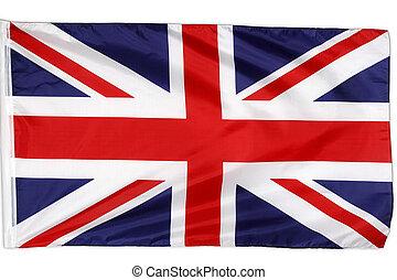 Union Jack - Closeup of Union Jack flag on plain background