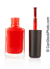 Red nail polish bottle with brush