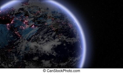 Night earth zoom in - Zoom in to CU of night earth with...