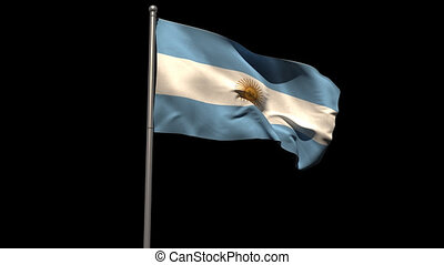 Argentina national flag waving on flagpole on black...