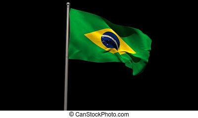 Brasil national flag waving on flagpole on black background