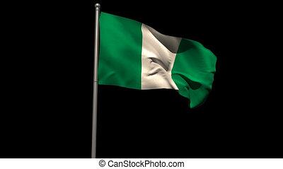 Nigeria national flag waving on flagpole on black background