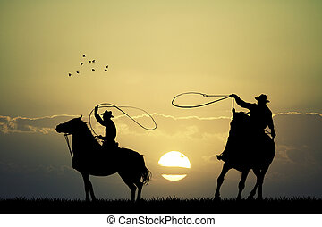 rodeo cowboys - illustration of rodeo cowboys
