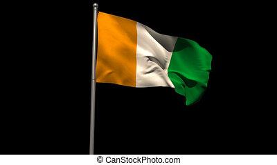 Ivory coast national flag waving on flagpole on black...