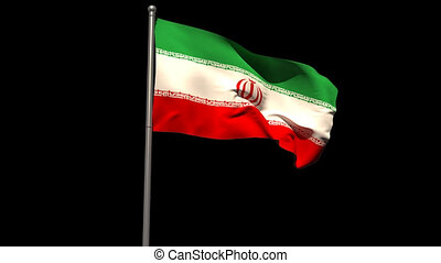 Iran national flag waving on flagpole on black background