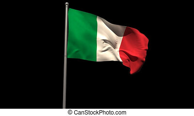 Italy national flag waving on flagpole on black background