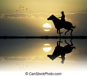 cowboy with lasso at sunset - illustration of cowboy with...