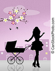 mother with pram - illustration of mother with pram