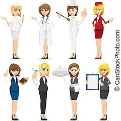 cartoon woman occupation set - illustration of cartoon woman...