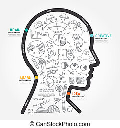 infographics vector head design diagram line style template with
