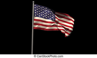 America national flag waving on flagpole on black background