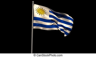 Uruguay national flag waving on flagpole on black background