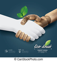 Handshake eco deal concept with hand wood and paper / can be...