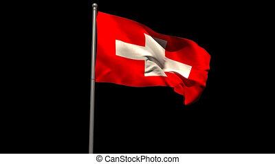 Switzerland national flag waving on flagpole on black...