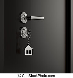 Lock and key with metal house figure - 3d illustration of a...