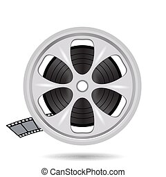 cinema film tape on disc - colorful illustration with cinema...