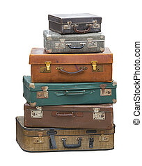Suitcases - Stack of vintage luggage suitcase isolated...