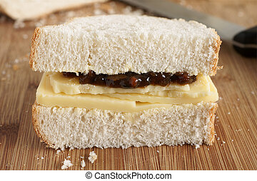 Cheese and pickle sandwich - Rustic style hand cut Cheddar...