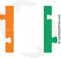 Ivory Coast Flag in puzzle