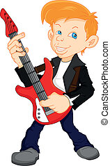 boy guitar player illustration