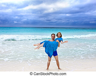 the loving couple  on the seashore