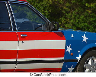 American Car - Car painted with the American flag. Close up
