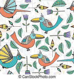 Pattern with birds - Beautiful hand drawn seamless pattern...