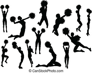 funky cheerleader silhouette - EPS 10 Vector illustration of...