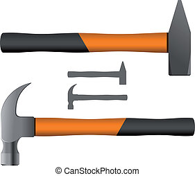 Hand Tools - Two Different Types Hammers Vector illustration...