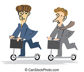 Two Businessmen on the Scooter - Two Businessmen with a...