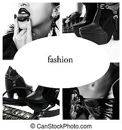 Fashion collage, black and white photo of fashion...