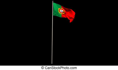 Portugal national flag waving on flagpole on black...