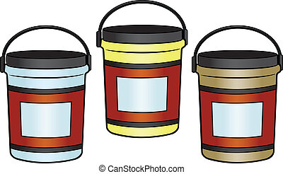 BUCKETS - Three different colored Buckets.