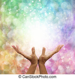 Angelic Healing Energy - Outstretched healing hands with...