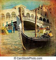 Venice, Italy - The beautiful view of Rialto's Bridge and...