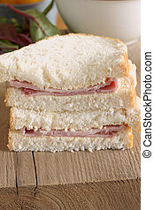 Ham Sandwich - Rustic style hand cut ham sandwich made with...