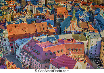 Aerial view of Riga (Latvia) - Old Town of Riga (Latvia) in...