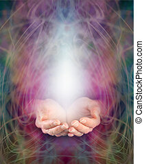 Healing energy - Healer's cupped hands and energy...