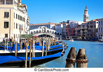 Venice, Italy - The beautiful view of Rialtos Bridge and the...