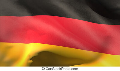 Digitally generated germany flag waving taking up full...