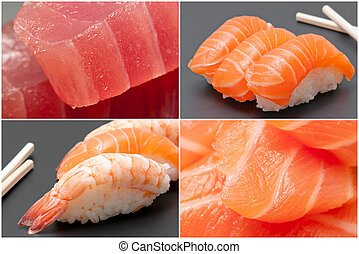 Sushi and sashimi - Close-up on sushi and sashimi