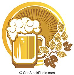 beer and hops - Beer mug and hops on a white background.