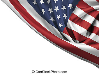 USA waving flag corner isolated on white