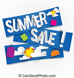 Summer Sale Background With Clouds And Sun vector...