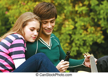 Romantic young couple relaxing