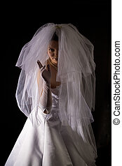 marriageable girl - young women in the veil and white dress